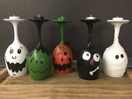 Glass Halloween Ornaments by More Than Canvas Halloween Wine Glass Candle Holder Paint