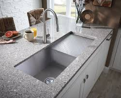kitchen interactive kitchen design ideas using stainless steel undermount double kitchen sink along with curved steel kitchen faucets and grey granite