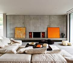 modern urban family room with unfinished concrete wall low beige