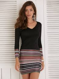 tight dress casual dresses black m sleeve striped fitted tight