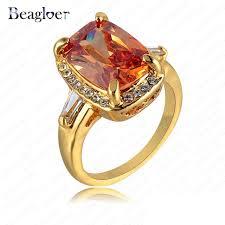 aliexpress buy beagloer new arrival ring gold beagloer trendy rings orange rhinestone ring gold color