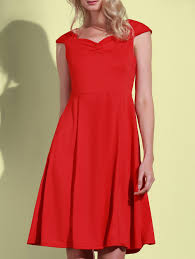 retro solid color sweetheart neck sleeveless dress for women red