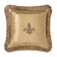 Fleur De Lis Bathroom Decor by Buy Fleur De Lis Trimmed 18 Inch Square Toss Pillow In Gold From
