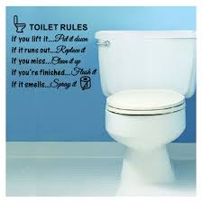 toilet rules bathroom removable wall sticker vinyl art diy home