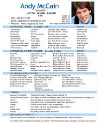 Theatrical Resume Sample by Dance Resume Format Acting Resume Template For Free Download