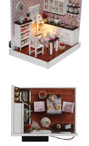Dolls House Kitchen Furniture Diy Handmade Wooden Miniature Doll House Kit Room Box Kids Toys