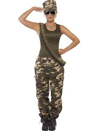 new military khaki camo soldier ladies fancy dress hen party