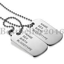 Dog Tag Necklace Custom Stainless Steel Dog Tag No Stone Chains U0026 Necklaces For Men Ebay