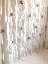 Country Chic Shower Curtains White Shower Curtain With Ruffles Custom Pin Tuck Shabby Chic