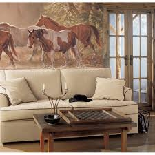 western decor western cowboy decor cowhide 3 ft 36 round wall extra large horses wall mural cowboy decor