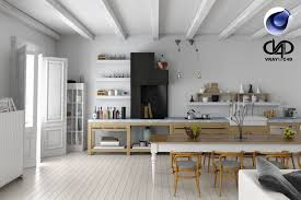 3d living room and kitchen c4d vray cgtrader