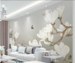 Magnolia Wallpaper Hand Painted Chinese Magnolia Background Wall Decoration Painting