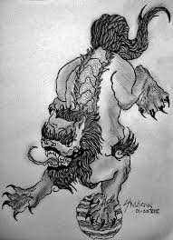 simple grey color foo dog tattoo design by shadowart666