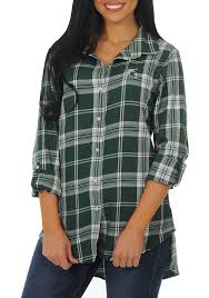 michigan state spartans womens boyfriend plaid long sleeve green