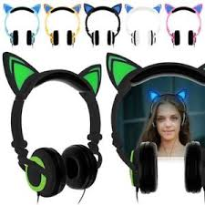 light up cat headphones foldable led light up cat ear headphones headset earphones glowing