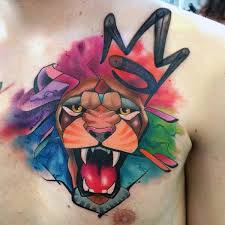 upper chest graffiti lion watercolor tattoo with domming effect