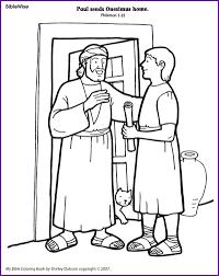 coloring paul sends onesimus home kids korner biblewise