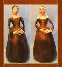 antique carved wooden doll in cloth by judi ward