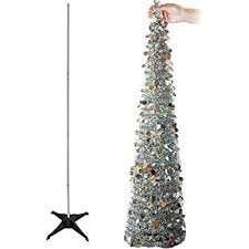 collapsible christmas tree aerwo 5ft pop up christmas tinsel tree with stand