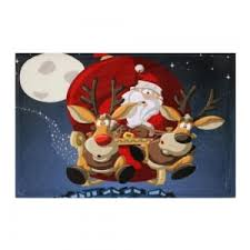Christmas Bathroom Rugs Blue W16 Inch L24 Inch Santa Claus Reindeer Antiskid Christmas