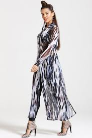 outlet girls on film printed chiffon maxi shirt dress outlet