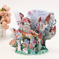 10 pieces lot flower fairy diy postcards 3d pop up greeting card
