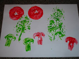 fruit and vegetable printing gardening with children