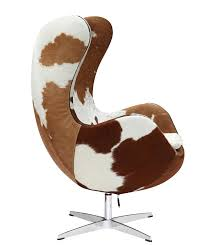 Arne Jacobsen Dining Chairs Jacobsen Egg Chair In Brown And White Cow Hide