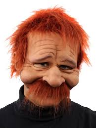 rusty half mask w hair mustache wholesale halloween costumes