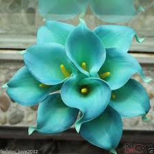 turquoise flowers 10pcs teal blue calla bouquet real touch callas flowers for