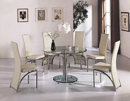 Decorate Round Dining Table Sets Britney White Marble Top Dining Table Set Cream Pu Leather Chairs