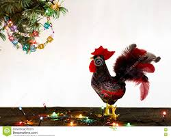 happy new year 2017 of rooster card with hand made craft red