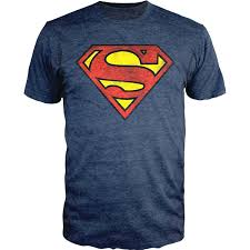 amazon superman logo shield heathered navy slim fit shirt
