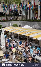 Summer Garden Bar - summer garden and bar at rockefeller center nyc usa stock photo