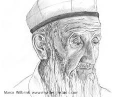 old man face from xinjiang pencil drawing by mw design studio