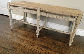 vintage french country bench with rush top french and english