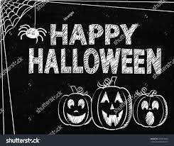 happy halloween drawn on vintage style stock vector 293616842
