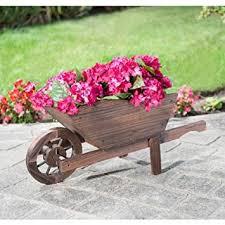 Wooden Wheelbarrow Planter by Beautiful Burntwood Wooden Wheelbarrow Planter Amazon Co Uk