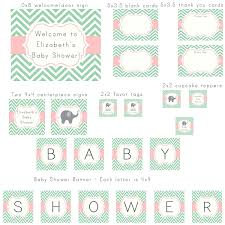 mint green and light pink chevron with elephant modern baby