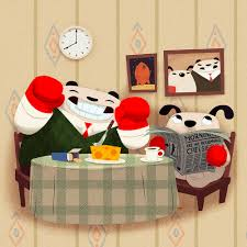 punching pandas wallace gromit pandas art print