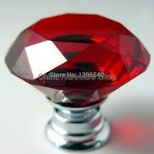 new red crystal cabinet drawer knobs diamond shape wardrobe closet