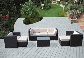 Patio Furniture Conversation Set Amazon Com Ohana 8 Piece Outdoor Wicker Patio Furniture Sectional