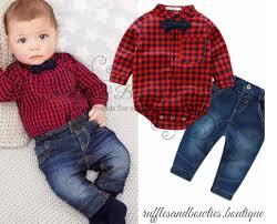 pre order baby boys buffalo plaid shirt and matching denim