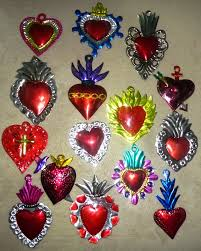 sacred hearts tin ornaments mexican wonders