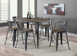 natural wood kitchen table and chairs lela industrial style gray 7pc counter height dining table set w