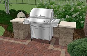 Backyard Brick Patio Design With  X  Pergola Grill Station - Backyard grill designs