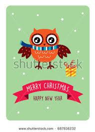 cute owl merry christmas greeting vector stock vector 687816325