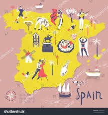 Spain Map Cartoon Map Spain Legend Icons Stock Vektorgrafik 394697812