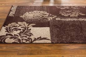 Damask Rugs Ruby Floral Damask Brown Geometric Well Woven Area Rug 60008