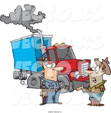 vector of a cartoon white police man assisting a trucker with a